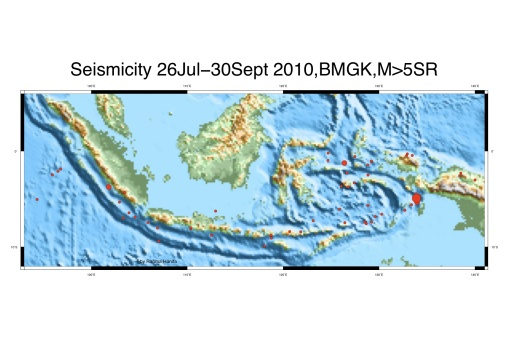 Seismicity Indonesia 2 bulan terakhir 26jul-30sep2010, sumber BMKG, dengan magnitude diatas 5, 4 event untuk magnitude 6 dan 1 event untuk magnitude 7. Kedalaman 0-700 km.