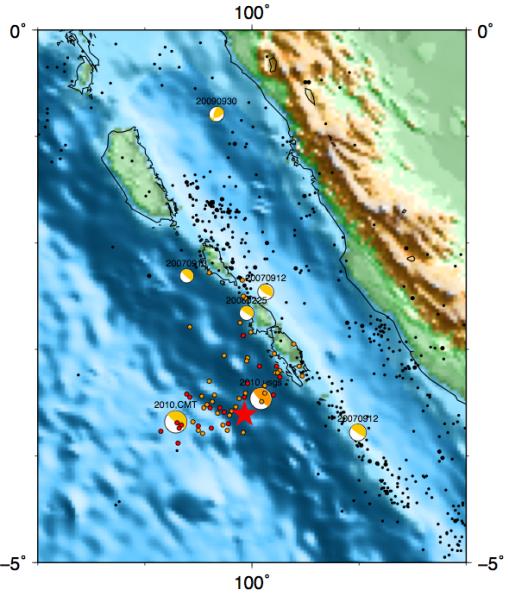 Epicenter gempa mentawai 2010: bintang merah (BMKG), focal merah (usgs), focal oranye (CMT). Focal kuning: CMT 2004-2010. Titik merah: aftershock dar BMKG (25-31okt 2010). Titik oranye: aftershock dari USGS (25okt-1nov 2010) Titik hitam: seismisitas dari USGS (1973-Okt2010)