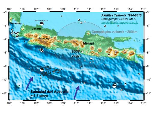 Peta sebaran gunung api dan seismisitas di jawa