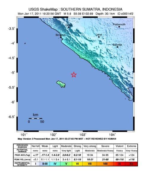 Shaking map intensity, USGS