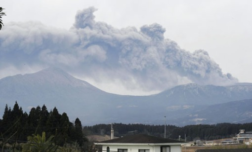 Blowing its top: Mount Kirishima's Shinmoedake peak, seen from Takaharu, Miyazaki Prefecture, spews ash Thursday morning. KYODO PHOTO-japantimes