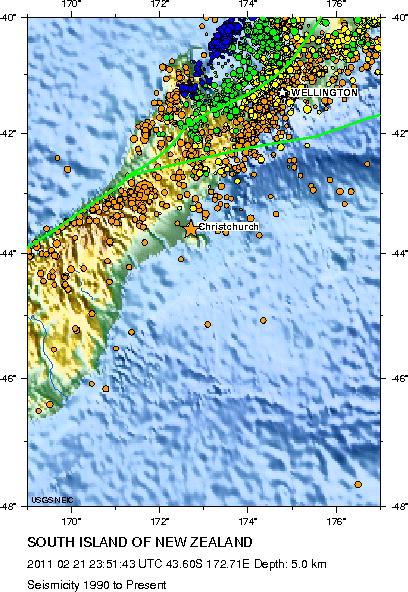 Seismicity History, bintang menunjukkan epicenter gempa (USGS)