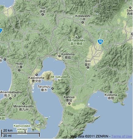Kirishima Volcano in Kagoshima Bay, Kyushu, South Japan (source: googlemap)