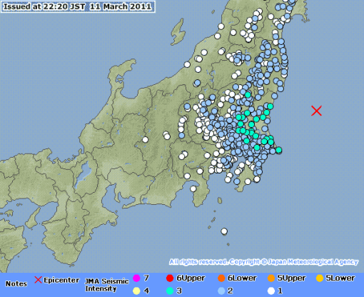 Aftershocks from JMA, until 22:30