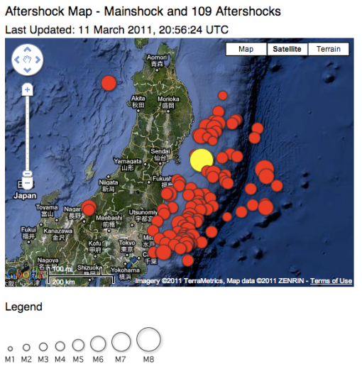 Aftershocks from USGS, ~until 6 am tokyo time.