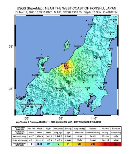 Gempa subuh: M6.2, shake map USGS