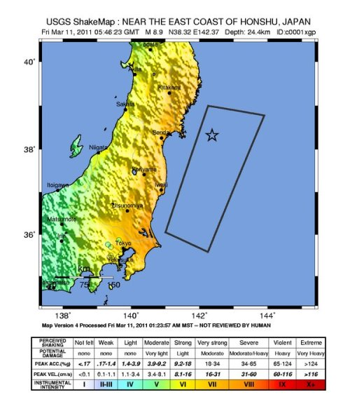 Gempa1: M8.8 (star), Shaking Map USGS