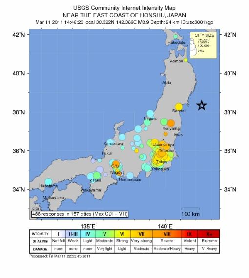 Shaking Map, USGS