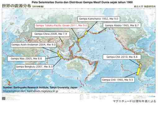 Translation dari peta ERI-Todai: Distribusi Gempa Masif di Dunia, di atas peta seismisitas dunia, 20110317