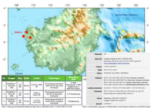 Gempa Kalimantan (merah, sumber: BMKG) dan Gempa Minahasa (kuning, sumber: USGS). Keduanya terjadi pada 24 Agustus 2011