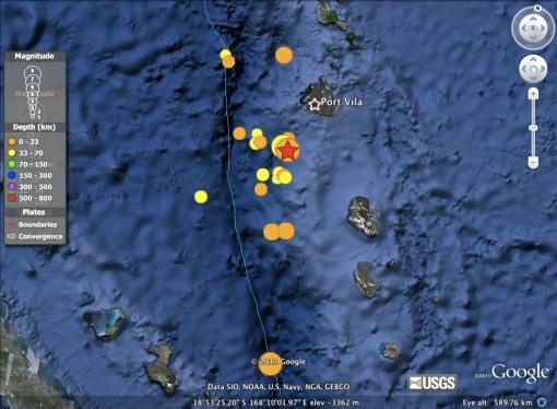 Gempa Vanuatu M7.1 dan M7.0 (bintang) yang terletak sangat berdekatan, dini hari 20 Agustus 2011.